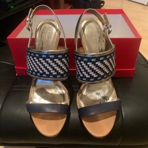 Coach Steffi silver and navy high hell sandals